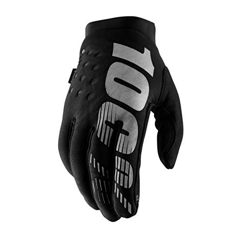 100% BRISKER Cold Weather Motocross & Mountain Bike Gloves – Warm Winter MTB & MX Powersport Racing Protective Gear (L – Black/Grey)