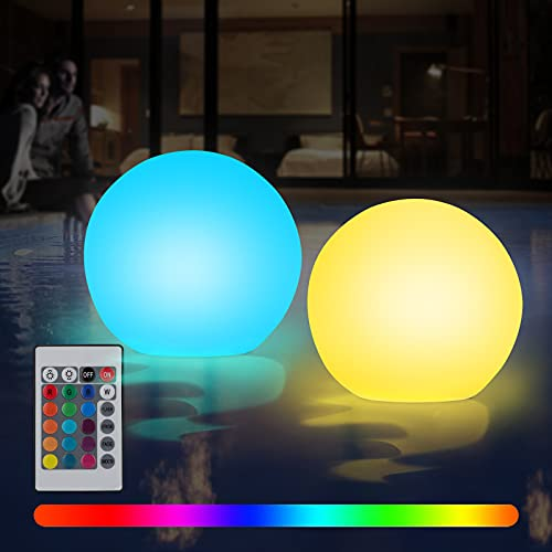 Gohytal Lumière de Piscine Flottante, 2 PCS Lampe Solaire Flottante Lumière de Spa à LED Lampes Solaires Extérieures Changeante de Couleur Lumière de Boule de Bain pour Piscine Fête Décor Extérieur