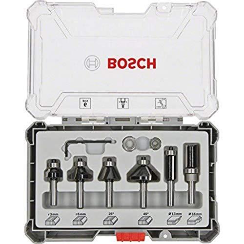 Bosch Professional Set da 6 Pezzi di frese per profili, smussartue e scanalature, per legno, accessorio per fresatrici verticali con codolo di 8 mm