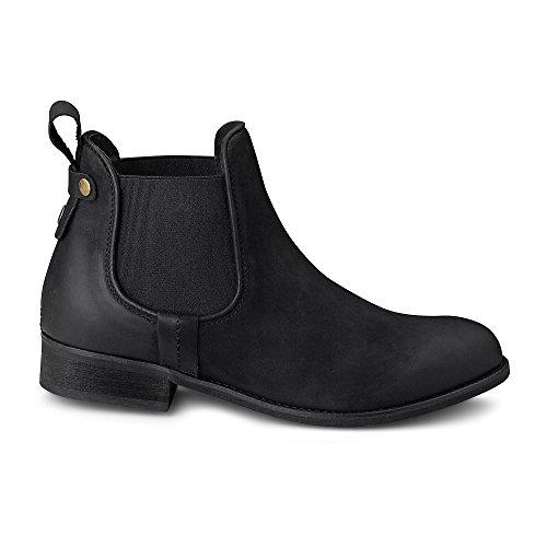 Cox Damen Chelsea-Boots aus Leder, Schwarze Stiefelette mit Stretch-Einsatz Schwarz Leder 37