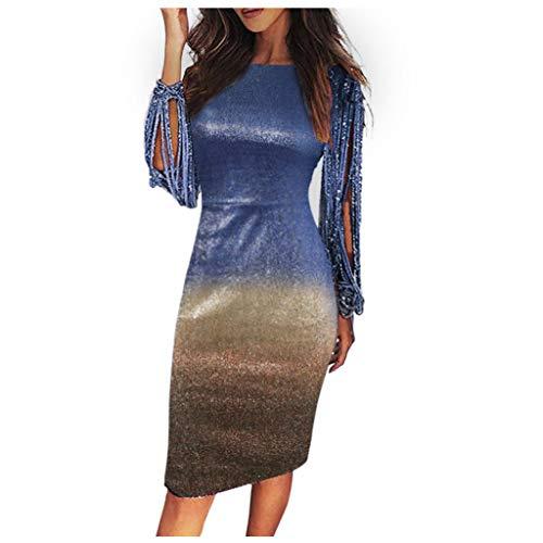 Sexy Damen Paillettenkleid Allmählich Kleid Midi,Änderung Kleid Elegante O Neck Glitzerkleid Ballkleider aushöhlen allmähliche Abendkleider Party-Kleid URIBAKY