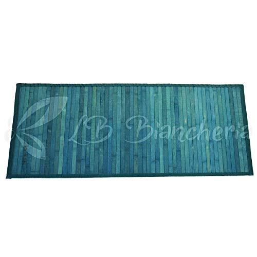 Lovely Home - Tapis en bambou, couleur unie 50x120cm pour cuisine, salle de bain, chambre bleu