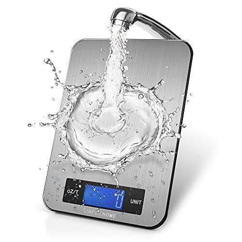 SimpleHome Balance Cuisine Electronique avec écran LCD en acier inoxydable, 5kg/11lbs,Balance numérique de Cuisine de Haute Précision,Argent, (2*batteries AAA incluses)