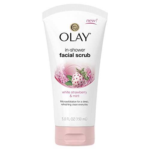 Olay White Strawberry & Mint In-shower Facial Scrub, 5 Fluid Ounce