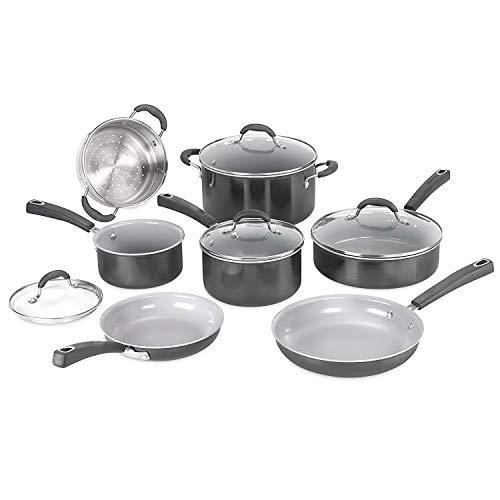 Cookware set. 11 Piece Best Pots and Pans Non Stick, Ceramic Induction Cooking Frying Kit With Glass Lids. Oven Safe. Saucepan, Saute Pan, Stock Pot, Stock Pot, Skillet (Black)