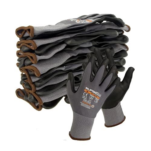12 Paar Trevendo® Arbeitshandschuhe Super Tech Flex Nylon-Strickhandschuhe schwarz/grau Größe 10