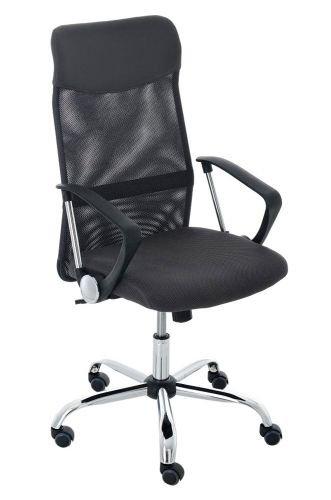 CLP Silla de oficina Washington V2, altura regulable con función basculante, silla de escritorio con funda de malla, cruz giratoria de metal estable, gris