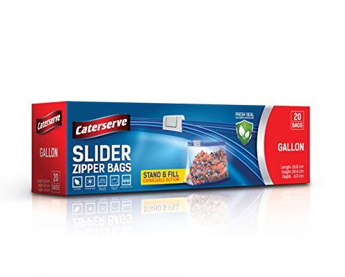 Slider Ziplock Bags – 1 Gallon Food Storage Bags - 20 Resealable Food...