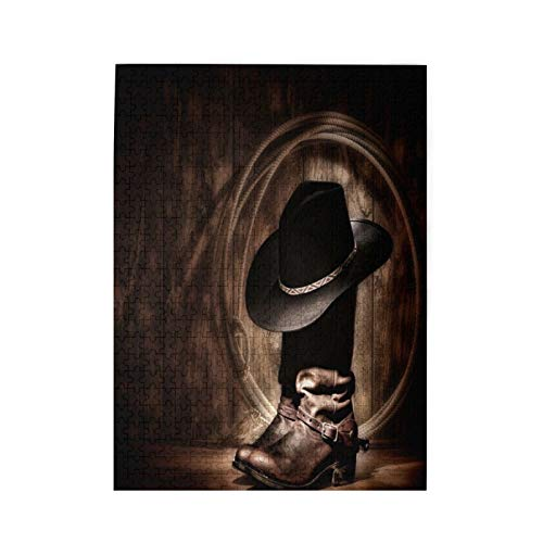Jigsaw Puzzle 500 Pieces, Vintage American Western Cowboy Hat and Boot Game Artwork Art Jigsaw Puzzles Toy for Educational Gift Home Decor (20.4 in X 15 in)
