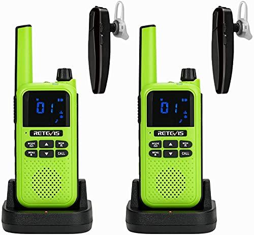 Retevis RA619 Bluetooth Walkie Talkie, Batería Recargable Auriculares Bluetooth, Copia Inalámbrica 16ch Licencia Libre Professional Walkie Talkie para Caza Aventuras al Aire Libre (Verde, 2 Pieza)