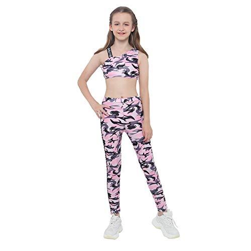 inlzdz Conjuntos de Crop Top y Pantalones Elásticos Ropa Deportiva Niña para Fitness Gym Running Traje Danza Baile Gimnasia Rosa 7-8 años