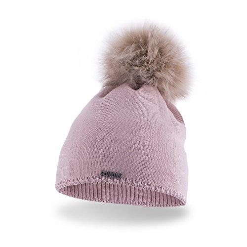 PaMaMi 17504 - Morbido e caldo berretto invernale da donna, lavorato a maglia, con pompon in pelliccia e interno in pile, diversi colori, 17504/9, Colore: rosa., Universale