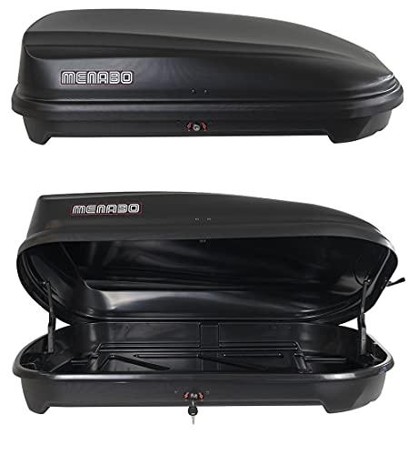Box da tetto baule 'QUASAR' 320 litri nero ruvido con chiusura antifurto