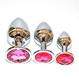 Anal Butt Plugs for Unisex Sex Toys, Crystal Stainless Steel Ball Trainer Set 3Pcs for Beginners - Rose Red
