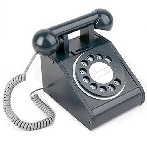 Frotox Diseño Retro Giratorio imitación teléfono Fijo casa de Juegos para niños teléfono Giratorio Antiguo de Madera para educación Preescolar teléfono para niños Juguete