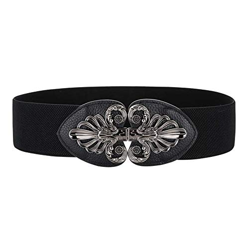 Women's Waist Belts Wide Plus Size 27'-70'Dresses Coat Fashion leather Elastic Stretch Cinch Belt with Fashion Metal Interlock Buckle 2.75'Width (Black, 43-51'waist)