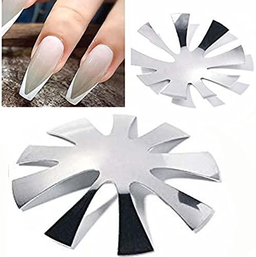 Cortador de línea de equipo de arte de uñas francés, kit de herramientas cortador de uñas francesas acrílico, 9 puntas de tamaño manicura borde recortador forma de almendra (2 unidades)