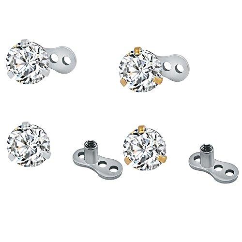 ZeSen Jewelry Chirurgenstahl Glänzend runden Zirkonia Dermal Anchor Tops und Basis Microdermals Piercing 14g 4Pcs Zirkonia: 3mm