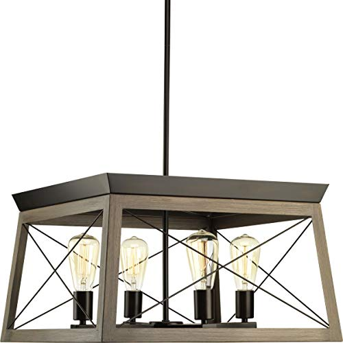 Briarwood Collection 4-Light Rich Oak Rustic Linear Farmhouse Chandelier