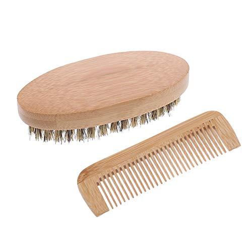 Xinzistar Bartbürste Wildschweinborsten und Bartkamm Set Schnurrbart Pflege Trimmen Werkzeuge Bart Styling für Männer Herren