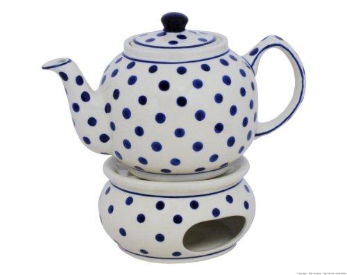 Original Bunzlauer Keramik Teekanne mit Stövchen 1.00 Liter im Dekor 37