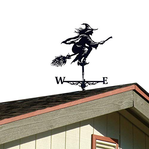 NGLSCXR Flying Wicked Witch Roof Garden Witch Die neueste Hexengarten-Wetterhahn-Windrichtungsanzeige Gusseisen-Hexen-Wetterfahne mit Dachhalterung für den Hof im Freien