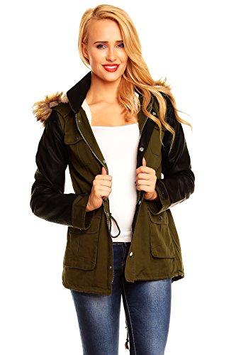 No Label Damen Jacke mit Lederärmeln mit Fell Futter Military Look Khaki XL