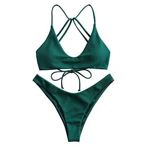 ZAFUL Damen Push Up Sommer Badeanzug High Leg Bikini Dunkelgrün S
