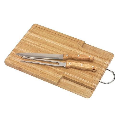 noTrash2003 Holz-Schneidebrett mit Tranchierbesteck, Tranchiergabel und Fleischmesser Brett aus Bambusholz