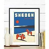 EDGIFT2 Nordic Schweden Dalarna Retro Kunstdruck Dalapferd