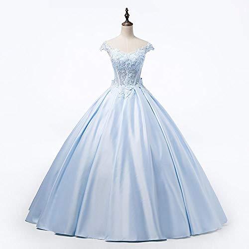 DSFRWFS Blau Applikationen Satin Brautkleid blau Perlen TAFT Braut Ballkleid Kleid