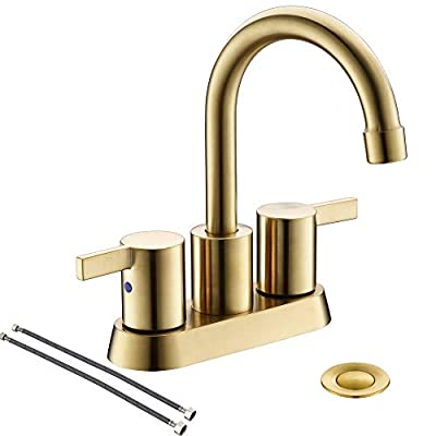 Brushed Gold 4 Inch 2 Handle Centerset Lead-Free Bathroom Faucet, with Copper Pop Up Drain and Two Water Supply Lines, BF015-1-BG