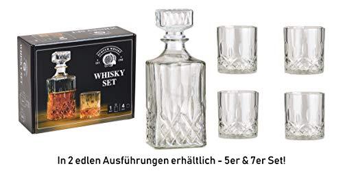WOMA - Whiskey Karaffe Set - 5er & 7er Set - Whisky Gläser + Kristall Karaffe für den vorzüglichen Genuss - 4 Scotch Whiskygläser [285 ml] + 1 Whisky Karaffe/Dekanter [900ml] aus Glas mit Deckel