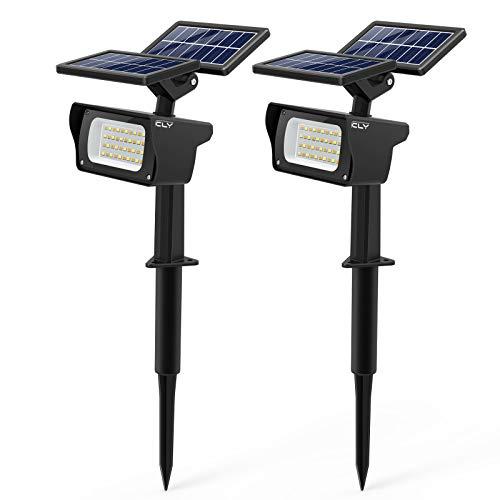 CLV Solarleuchte garten【Neue Pro-Version】, Solarlampen für den Garten mit 3 Helligkeitsstufen, 40 LEDs Wasserdicht Solarstrahler, Gartenbeleuchtung für Bäume, Büsche,Wand, Sträucher (2 Stück)