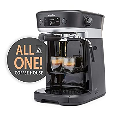 Breville All-in-One Coffee House, Espresso, Filter and Pods Coffee Machine with Milk Frother, Dolce Gusto Compatible [VCF117]