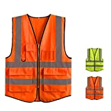 Chaleco reflectante Chaleco amarillo de alta visibilidad Chaleco de seguridad Chaleco de seguridad con tiras reflectantes Sin manga para el trabajo Actividad al aire libre Chaleco reflectante de segur