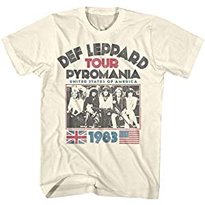 Def Leppard 1977 English Rock Band 1983 USA Pyromania Tour Natural Adult T-...