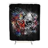 Totenkopf Skull Duschvorhang Wasserdicht Waschbar Anti-Schimmel Anti-Bakteriell Bad Curtians Blickdicht aus Stoff mit Duschvorhangringe für Badezimmer Schwarz 180x200cm