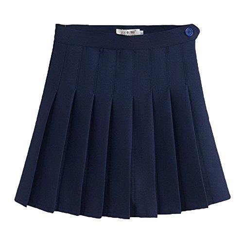 Yying Minifaldas Plisadas con Cintura Alta de Mujer Falda Escolar Skater de niñas patineta Navy S