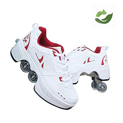 Roller Skates, Skating-Schuhe Für Männer Und Frauen Automatische Wanderschuhe Für Erwachsene Unsichtbare Riemenscheibenschuhe Skates Mit Zweireihigem Deform-Rad,Red-37