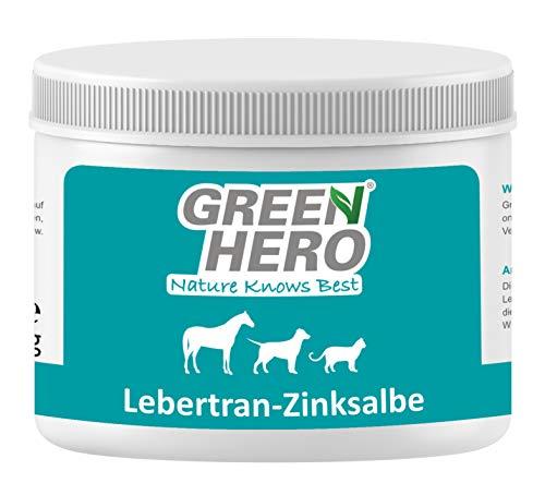 Green Hero Lebertran-Zinksalbe für Pferde Hunde und Katzen 500 g Zink Wundsalbe Pflegt die Haut bei Reizungen Ekzemen Juckreiz Mauke und vielen Anderen Hautproblemen