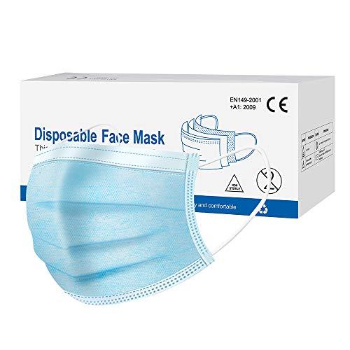 iAGFTS 50 Stück Maske Schutzmaske, masken mundschutz 3-lagig, schützt vor Staub, atmungsaktiv, Unisex, Einwegmasken, Mundschutz, Stoffmasken mundschutz, Einheitsgröße
