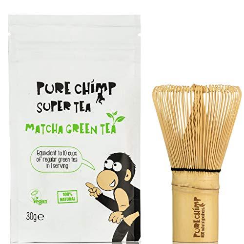 Kit Básico Matcha y Batidor/Set de Té PureChimp Matcha – Batidor de Bambú Japonés Tradicional + 30g Té Verde Matcha Premium - Libre de Pesticidas