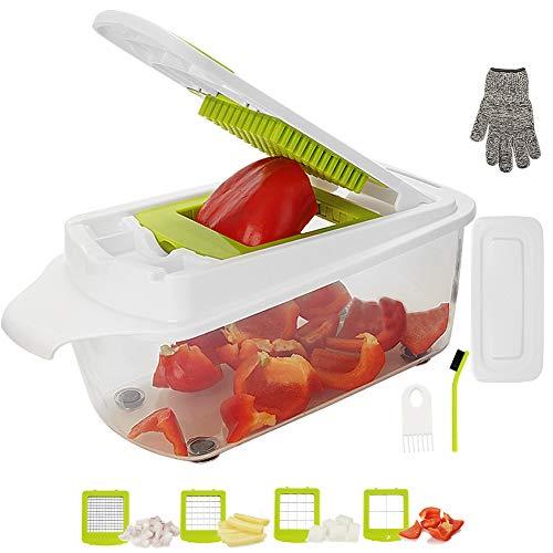 Aieruma Vegetable Chopper, Pro Onion Chopper Food Cutter, Stainless Steel Blades + ABS plastic (BPA free), Heavier Duty Multi Vegetable-Fruit-Cheese-Onion Chopper-Dicer-Kitchen Cuttert