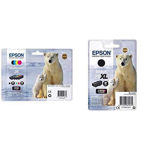 Epson C13T26164010 - Pack de 4 Cartuchos, Multiples Multipack, Normal (235F427) + Premium 26XL - Cartucho de Tinta, Negro