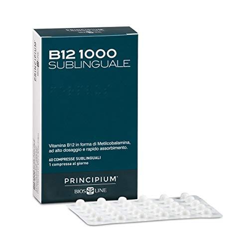 BIOS LINE Principium B12 1000 Sublinguale, Vitamina b12 in forma attiva contro stanchezza e affaticamento, Integratore sistema immunitario, Integratore vitamina b12 vegano, 60 compresse