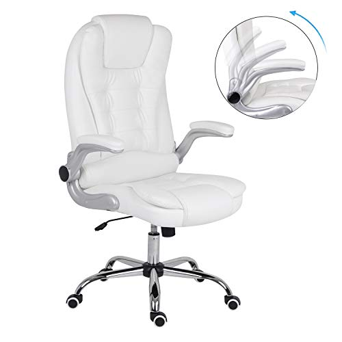 Office Chair with Flip Armrest,Executive Extra Padded White Desk Chairs for Home Office High Back Leather Computer Chair Adjustable Height Swivel Chair