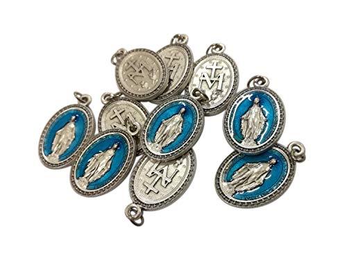 Eurofusioni Medalla chapeada Plata Azul Virgen Milagrosa - h 2,5 cm - 10 Piezas