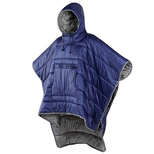 CTEGOOD Poncho Sleeping Bag, Portable Outdoor Honcho Poncho Wearable Windproof Water-Resistant Cape for Cold Weather Outdoors, Home Or Office UseBlue