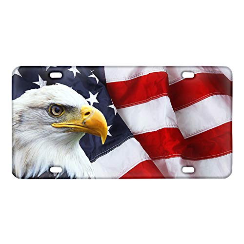 TOADDMOS Bald Eagle American Flag Print License Plate,Automotive Car Tag Aluminum Metal License Plate Car Tag,6 inch X 12 inch